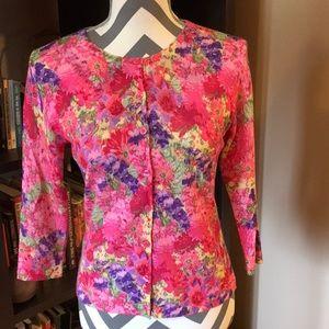 Garnet Hill 100% Wool Sweater Floral Patterned